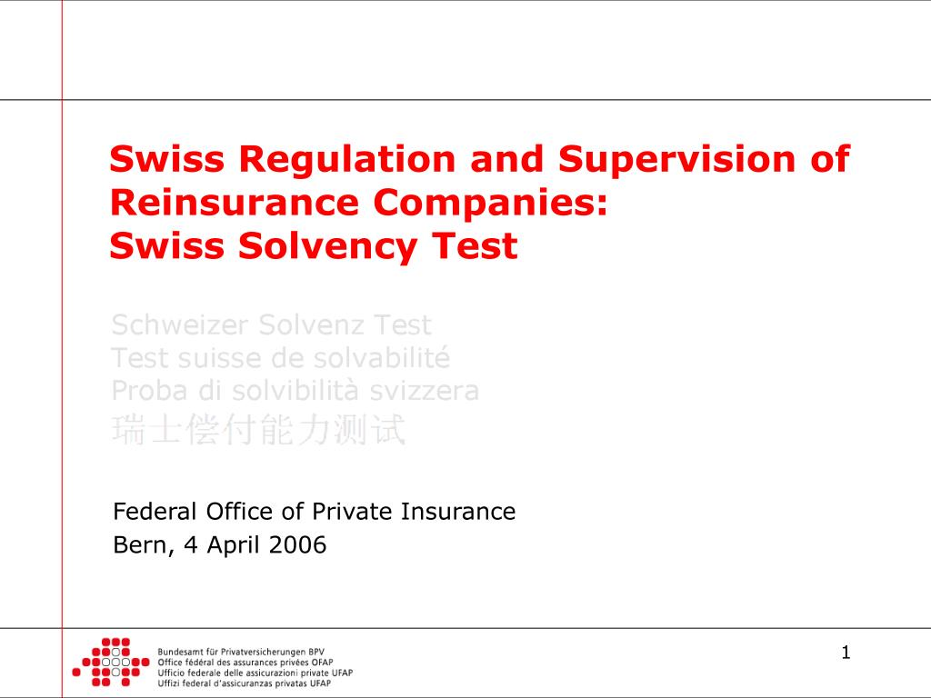 swiss regulation and supervision of reinsurance companies swiss solvency test l.