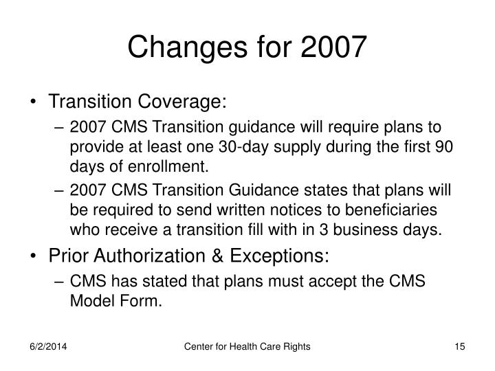 Changes for 2007
