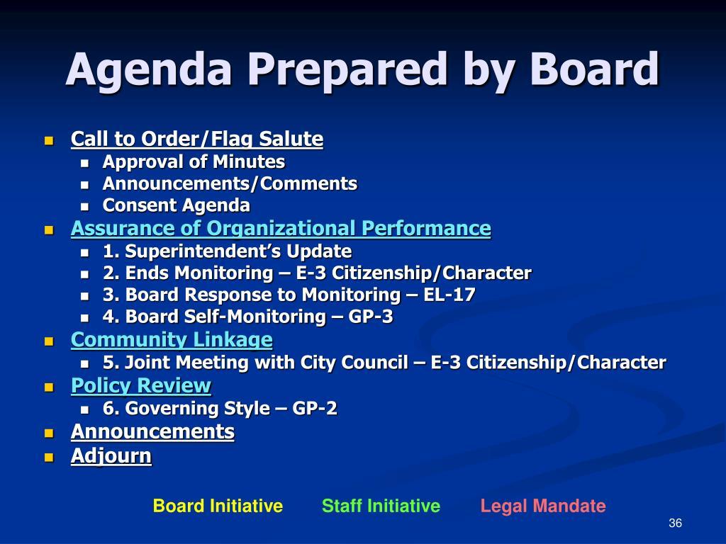 Agenda Prepared by Board