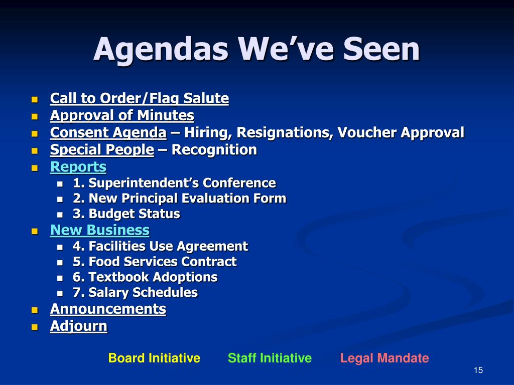 Agendas We've Seen