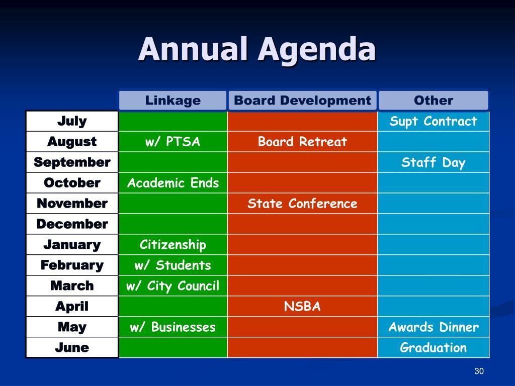 Annual Agenda