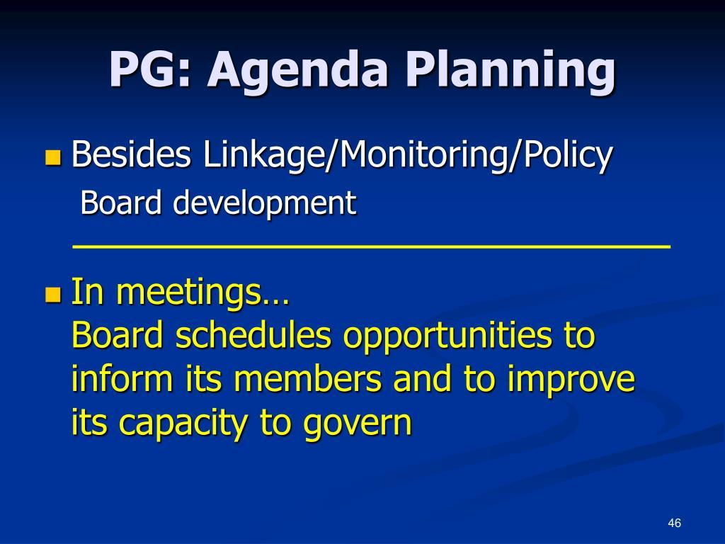 PG: Agenda Planning