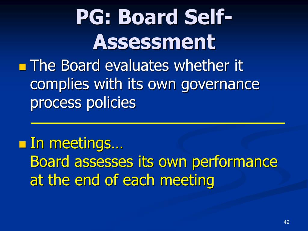 PG: Board Self-Assessment