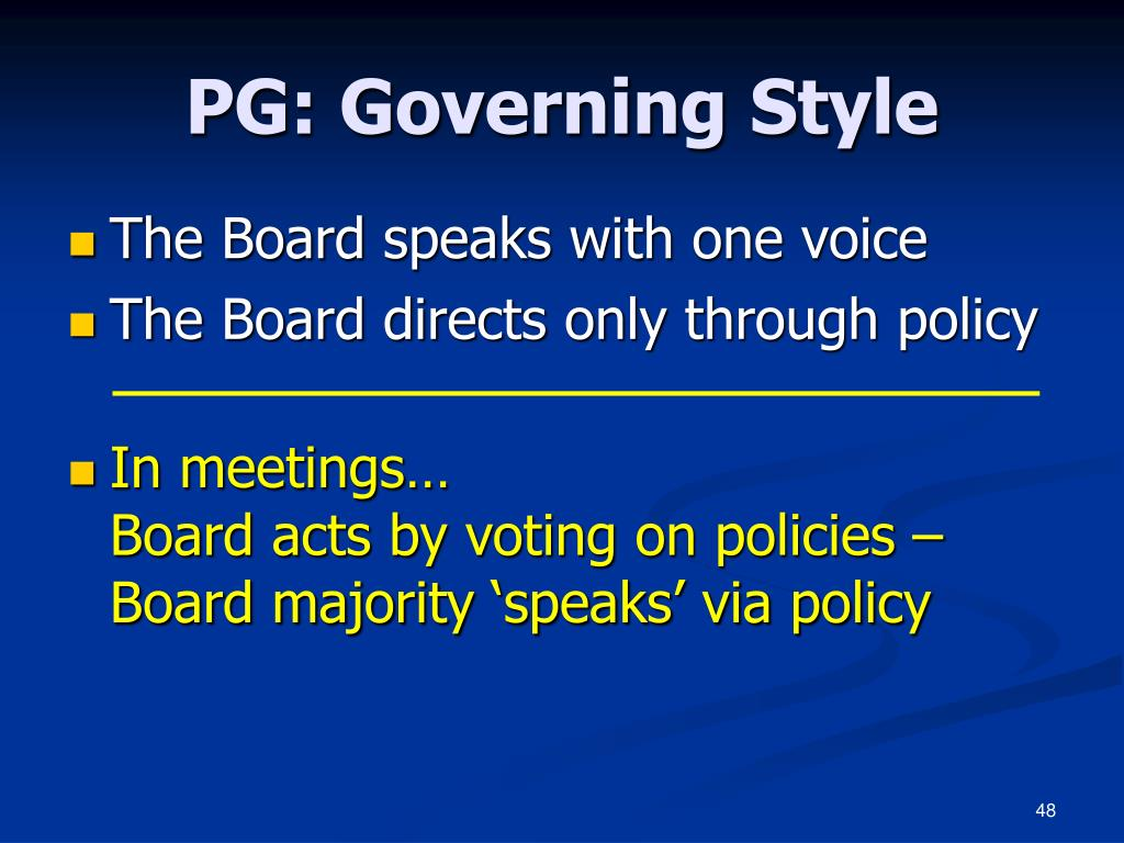 PG: Governing Style