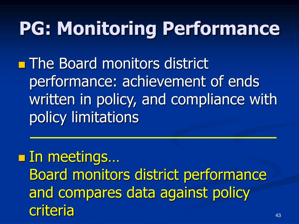 PG: Monitoring Performance