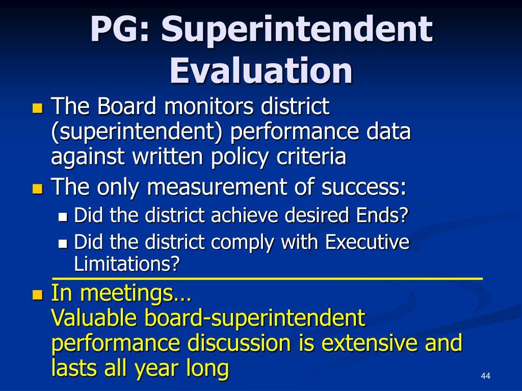 PG: Superintendent Evaluation