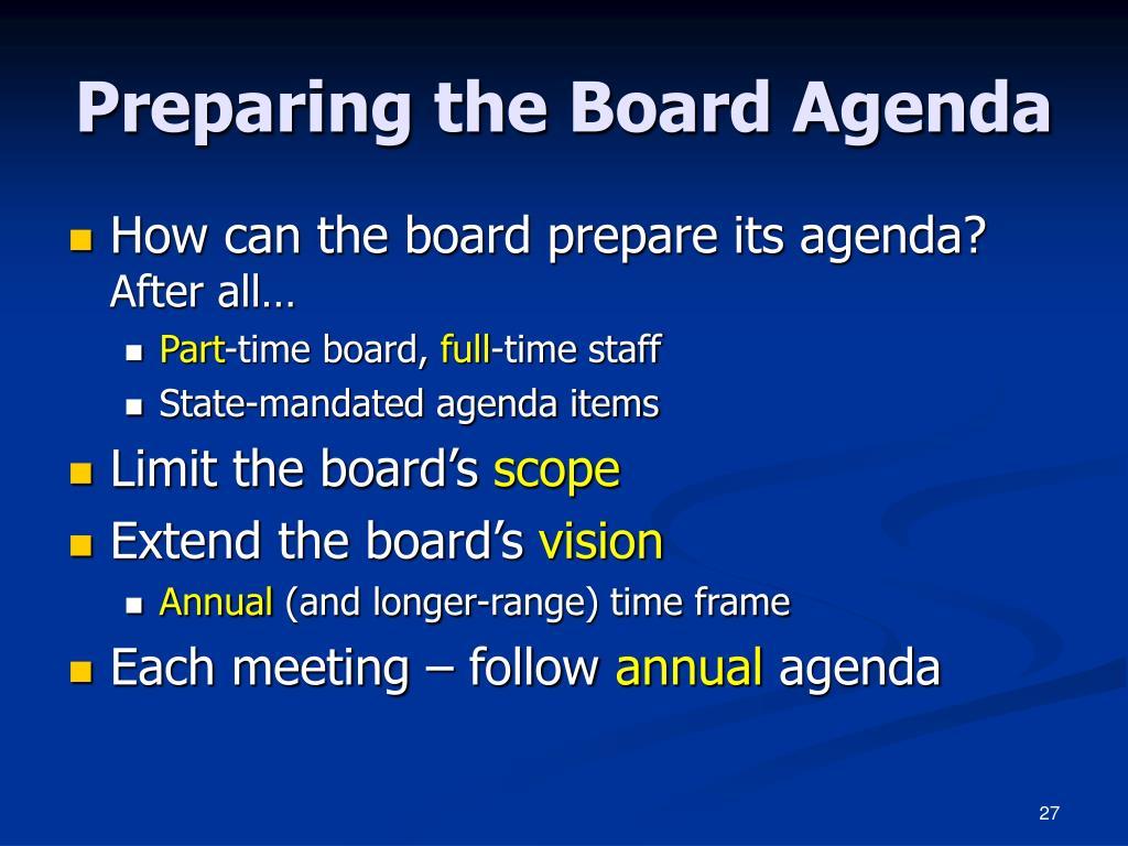 Preparing the Board Agenda