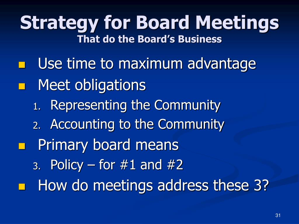 Strategy for Board Meetings