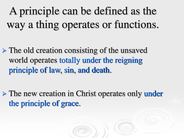 A principle can be defined as the way a thing operates or functions