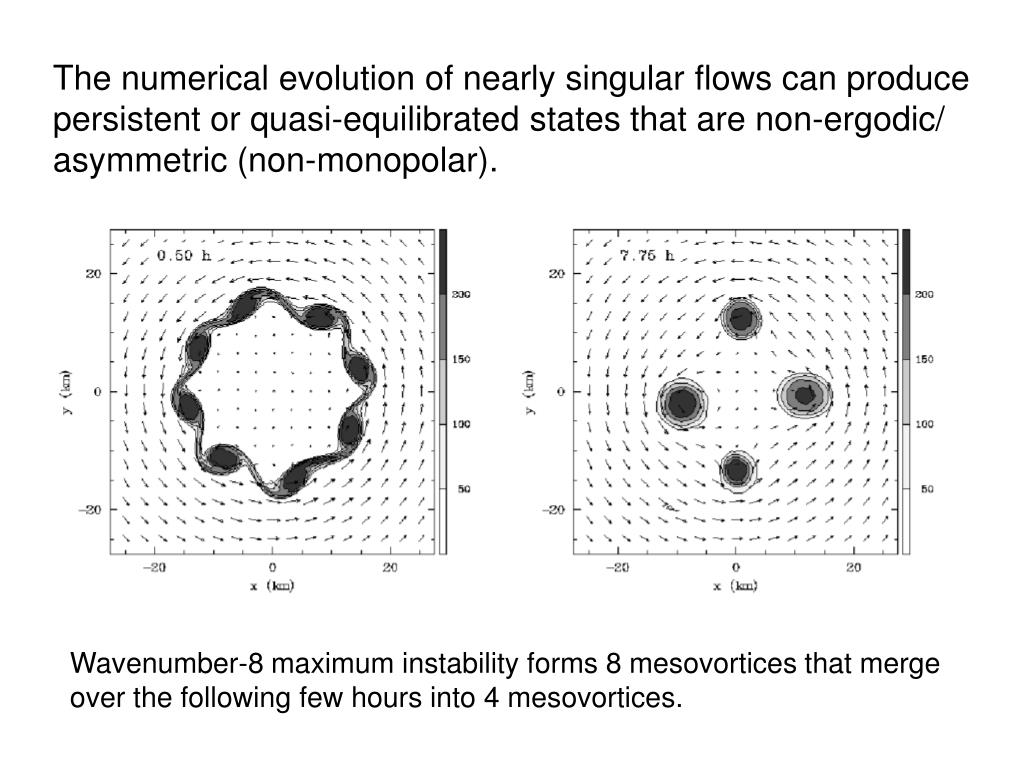 The numerical evolution of nearly singular flows can produce persistent or quasi-equilibrated states that are non-ergodic/ asymmetric (non-monopolar).