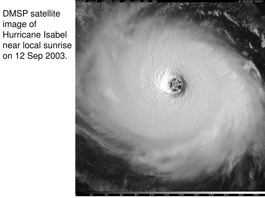 DMSP satellite image of Hurricane Isabel near local sunrise on 12 Sep 2003.