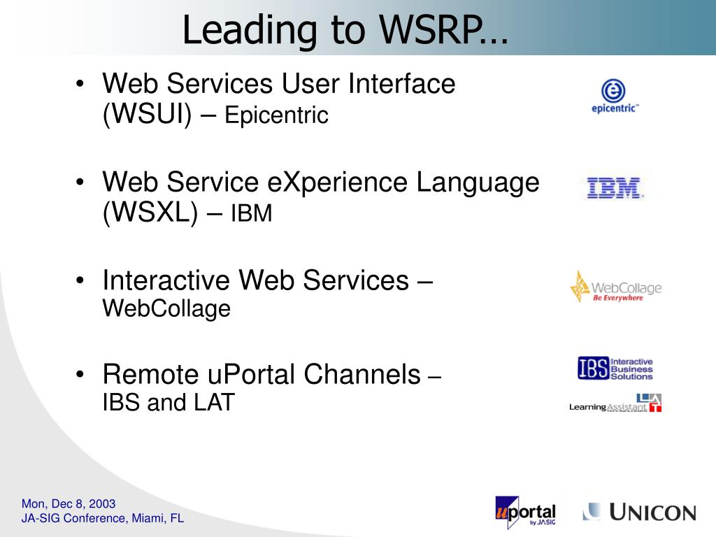 Leading to WSRP…