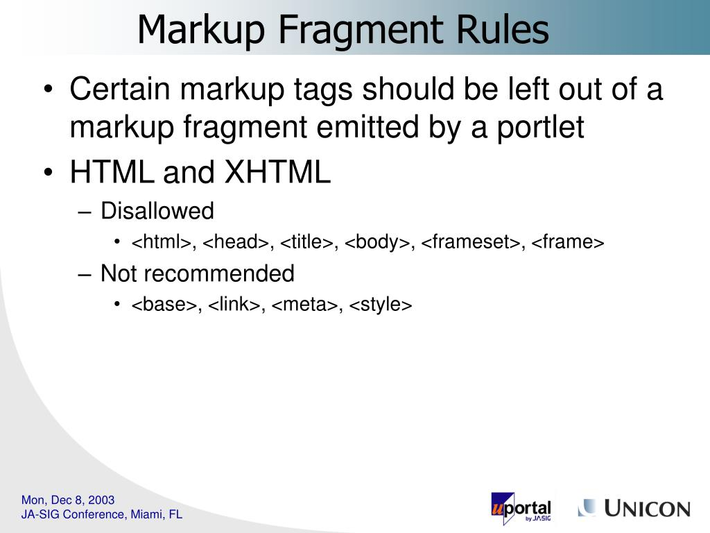 Certain markup tags should be left out of a markup fragment emitted by a portlet
