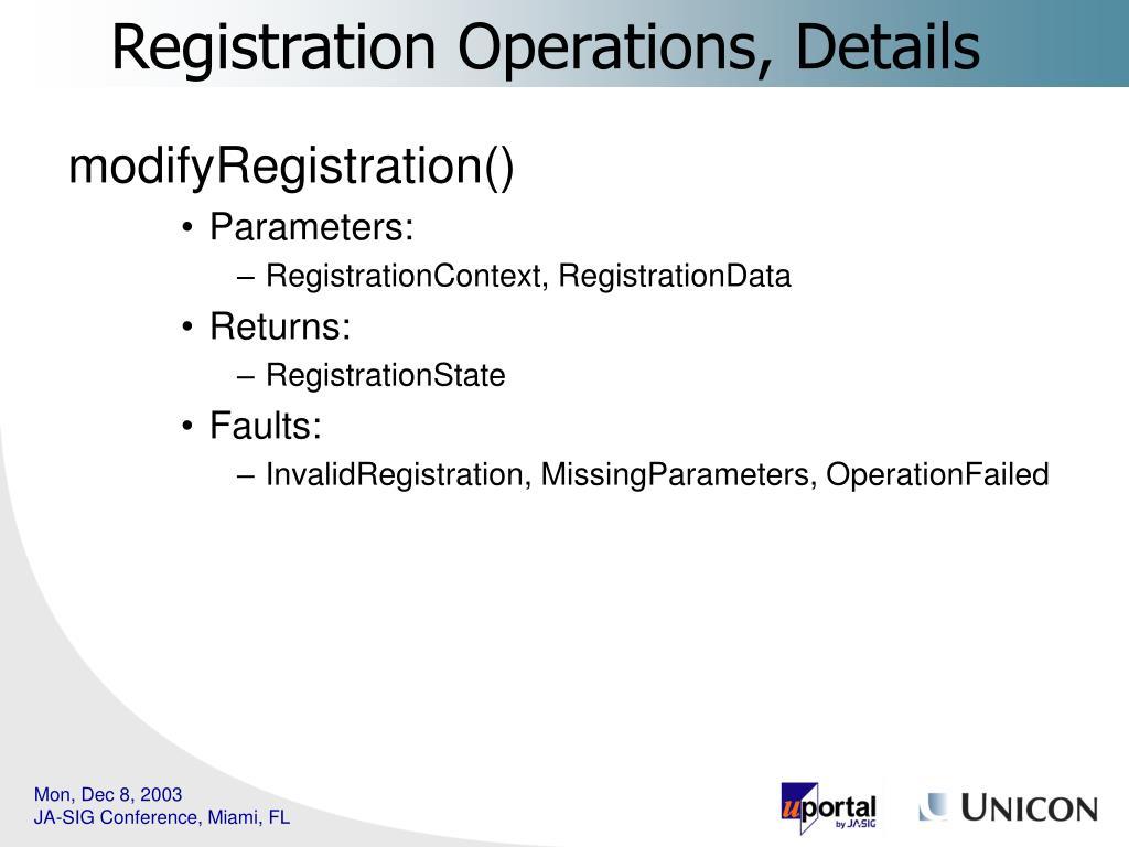 modifyRegistration()