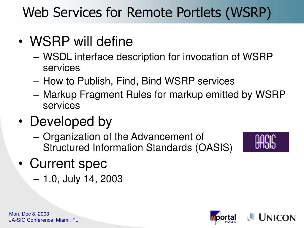Web Services for Remote Portlets (WSRP)