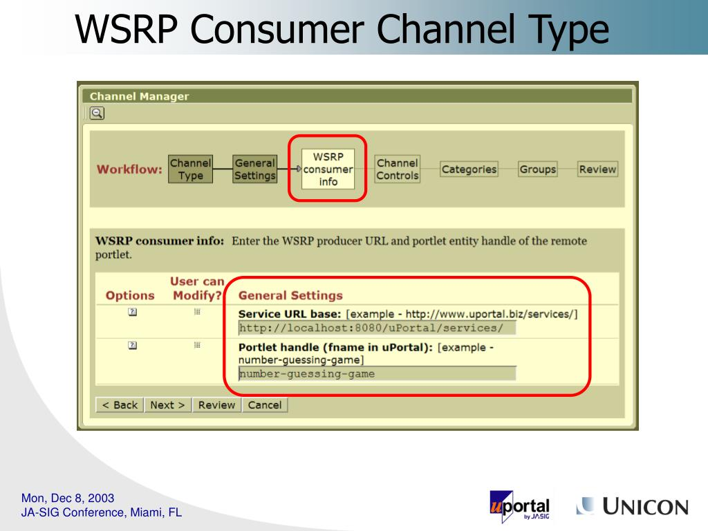 WSRP Consumer Channel Type