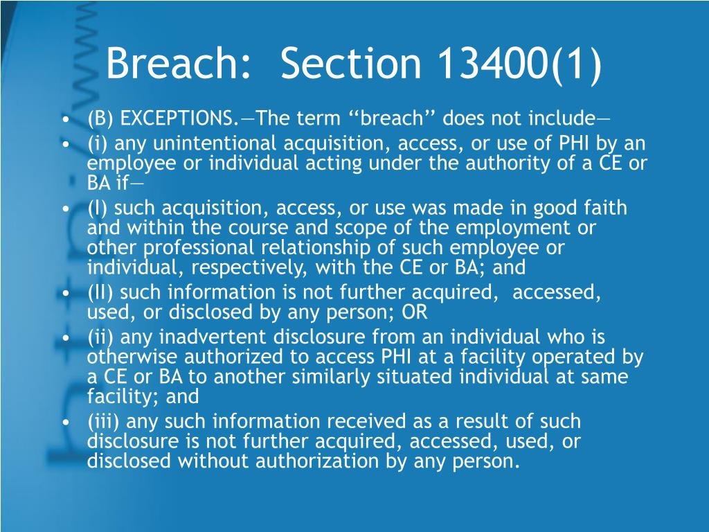Breach:  Section 13400(1)