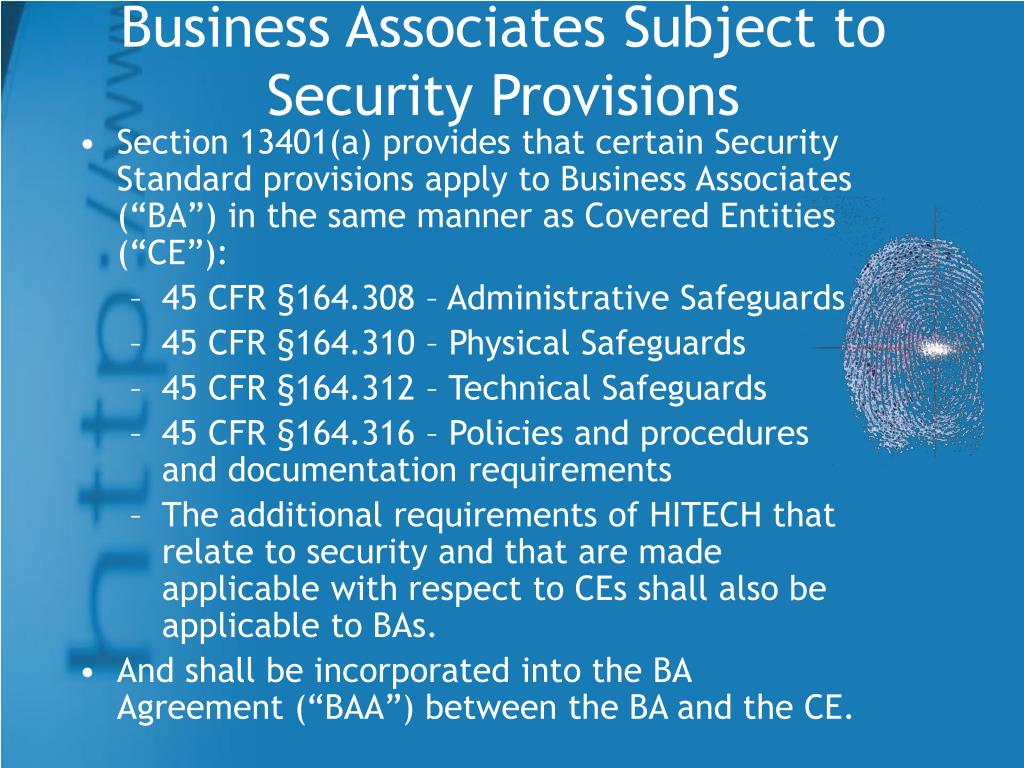 Business Associates Subject to Security Provisions