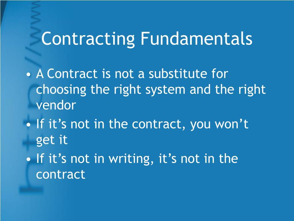 Contracting Fundamentals