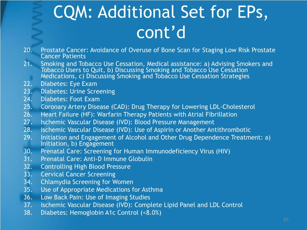 CQM: Additional Set for EPs, cont'd
