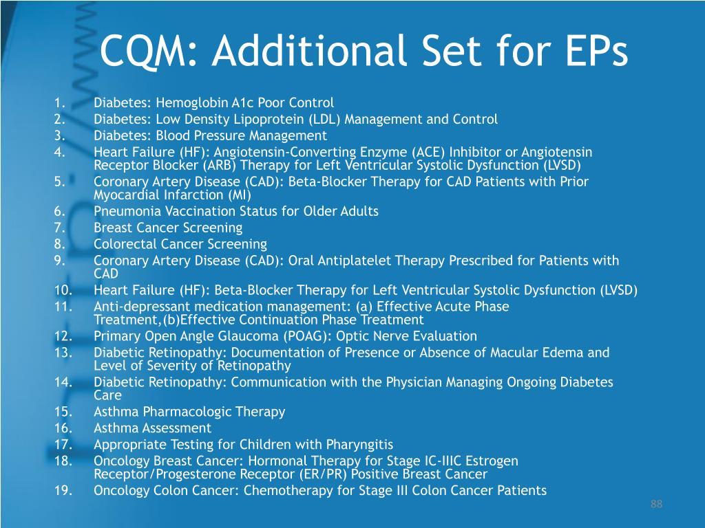 CQM: Additional Set for EPs