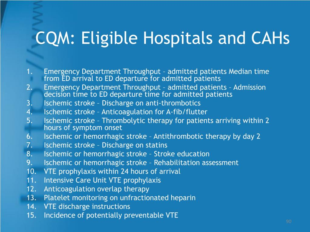 CQM: Eligible Hospitals and CAHs