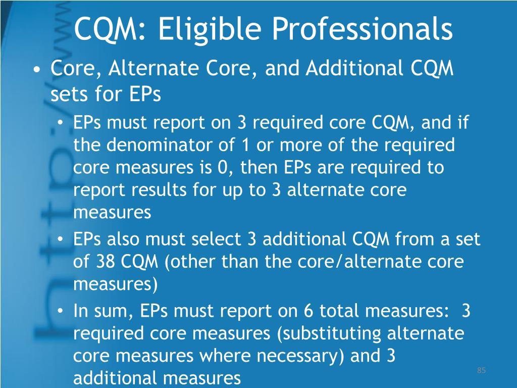 CQM: Eligible Professionals