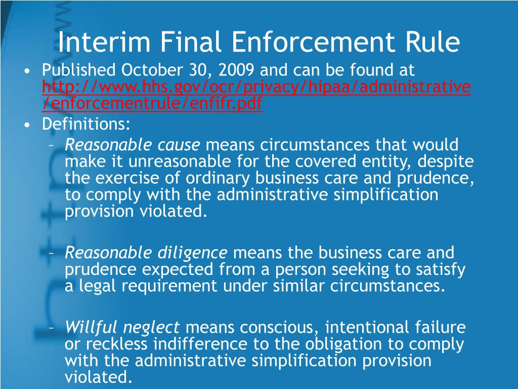 Interim Final Enforcement Rule