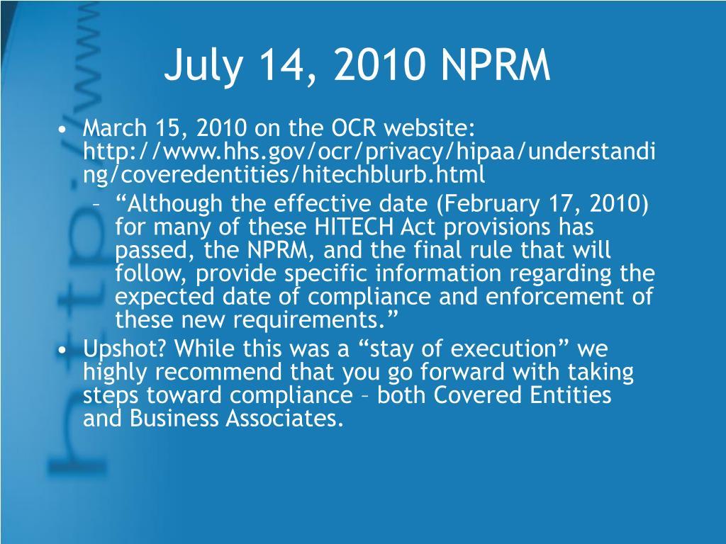 July 14, 2010 NPRM