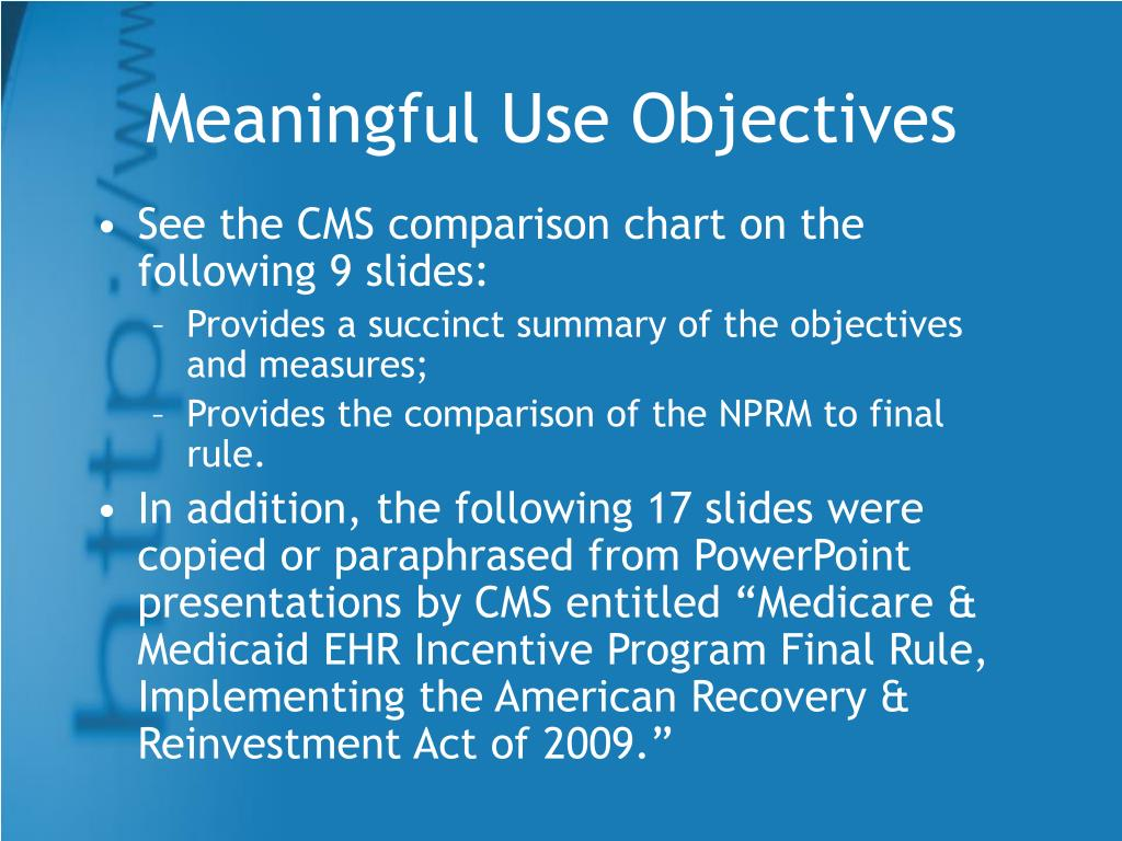 Meaningful Use Objectives