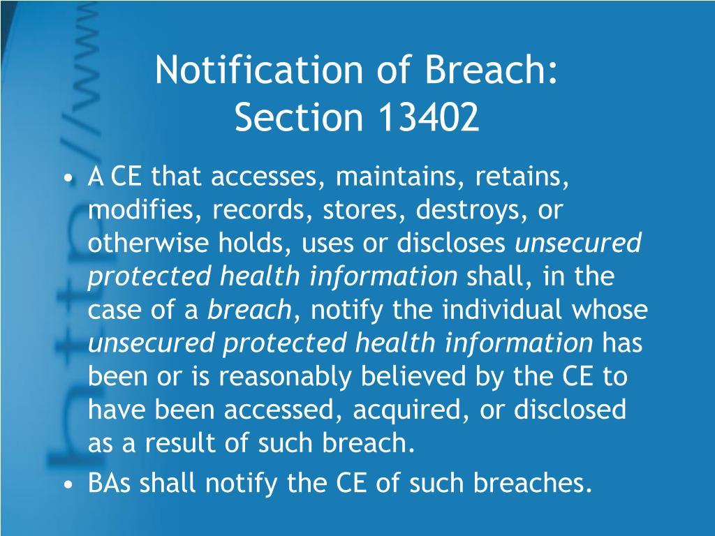 Notification of Breach: