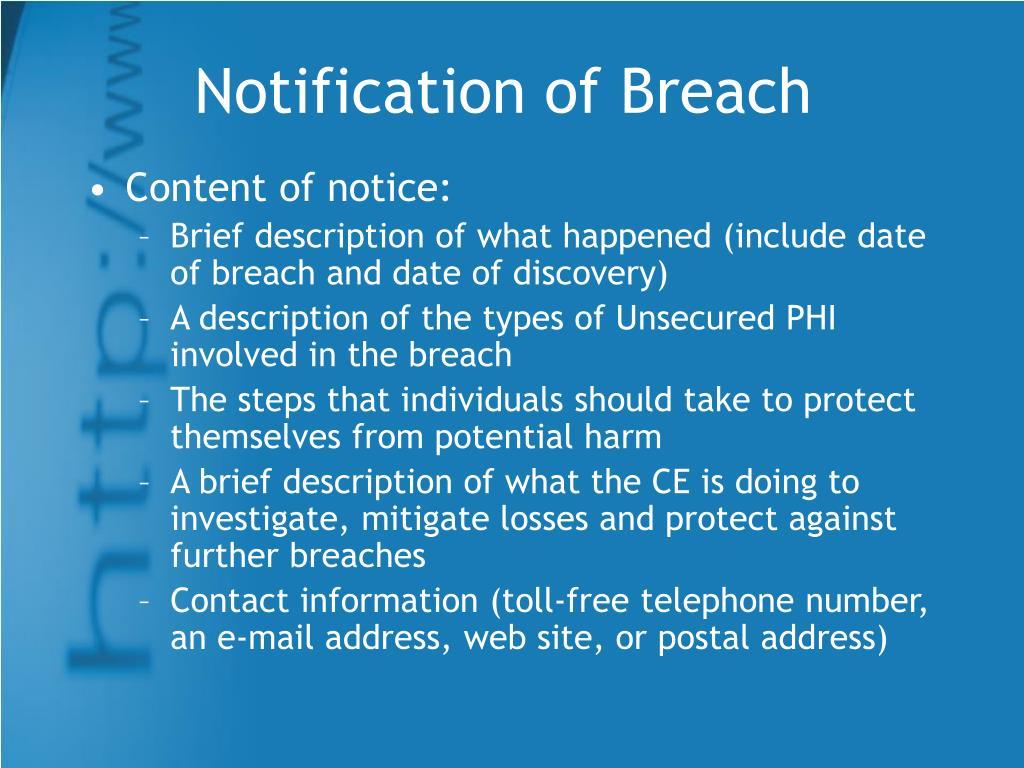 Notification of Breach