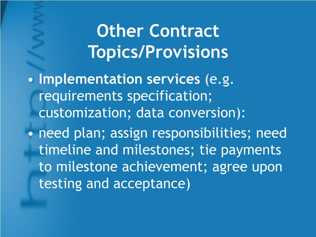 Other Contract Topics/Provisions