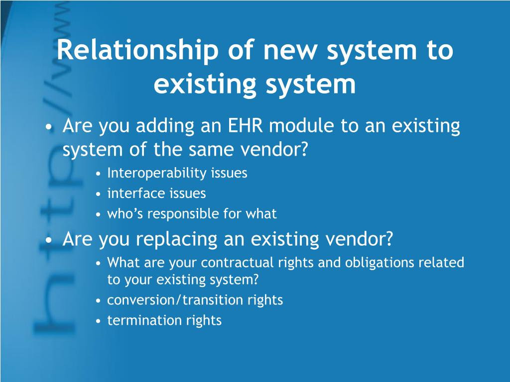 Relationship of new system to existing system