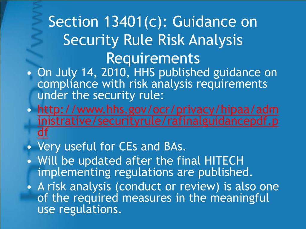 Section 13401(c): Guidance on Security Rule Risk Analysis Requirements