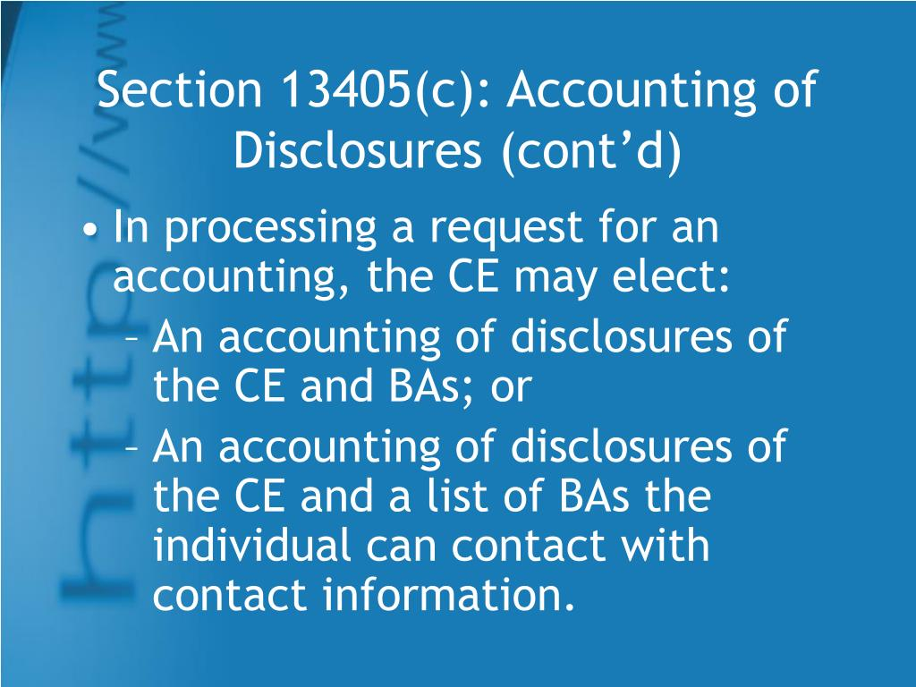Section 13405(c): Accounting of Disclosures (cont'd)