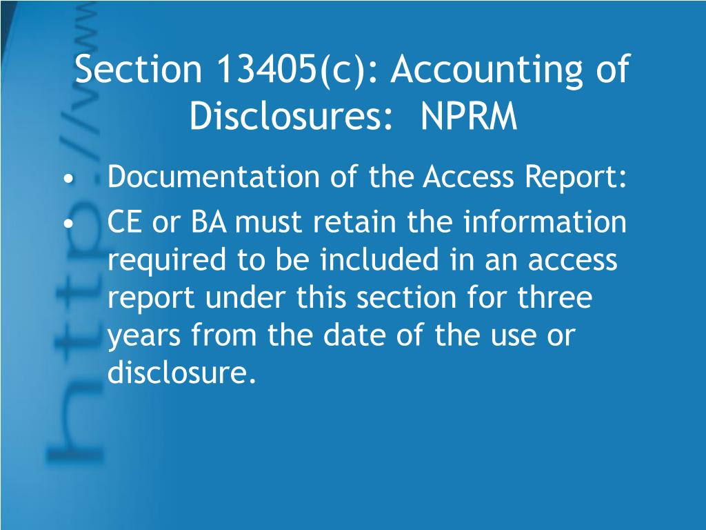 Section 13405(c): Accounting of Disclosures:  NPRM