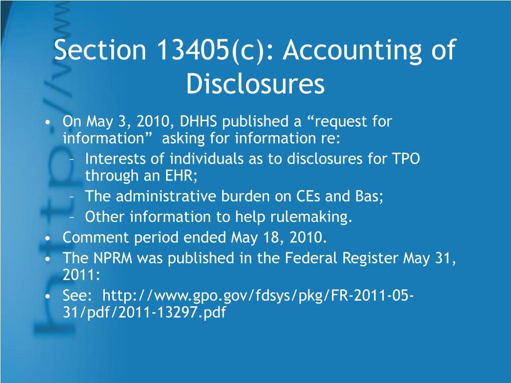 Section 13405(c): Accounting of Disclosures