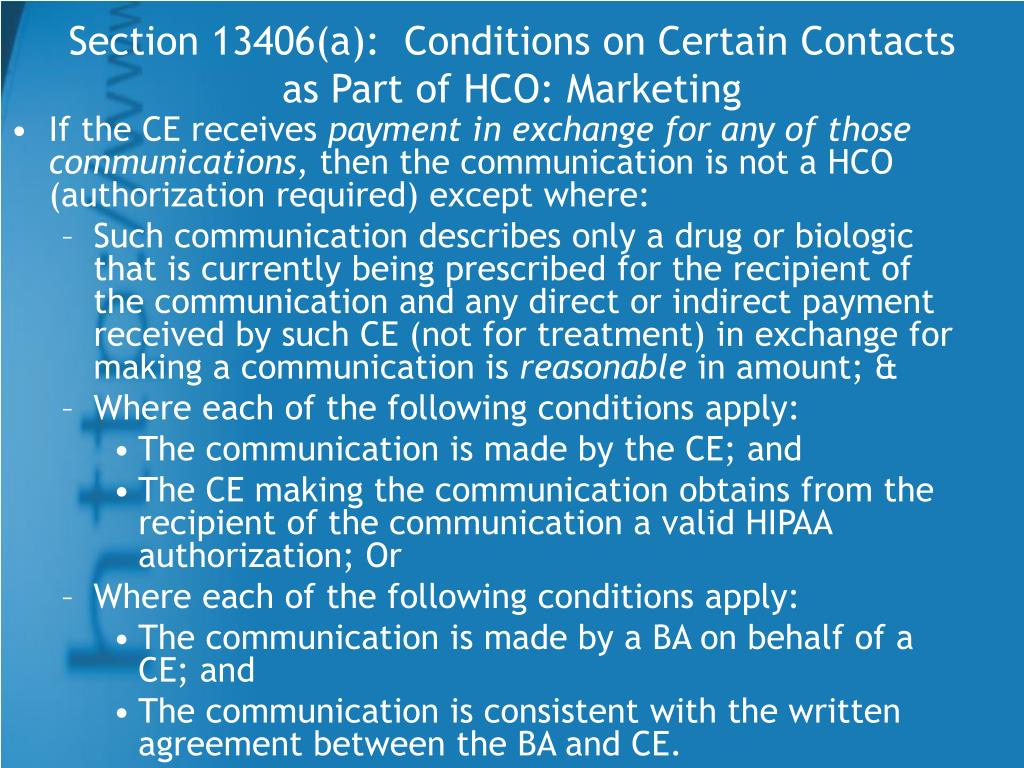 Section 13406(a):  Conditions on Certain Contacts as Part of HCO: Marketing