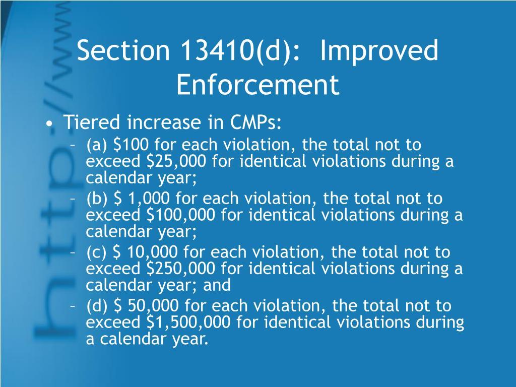 Section 13410(d):  Improved Enforcement