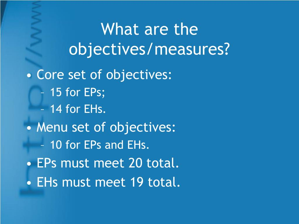 What are the objectives/measures?