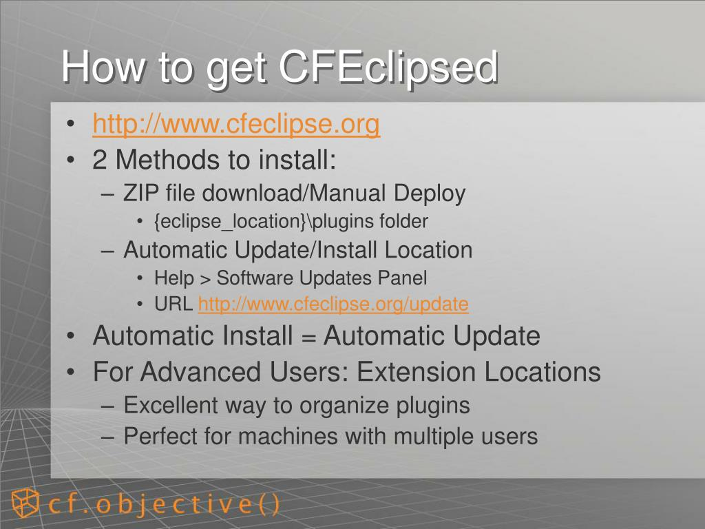 How to get CFEclipsed