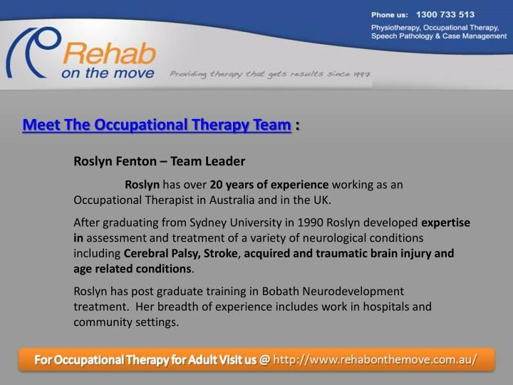 Meet The Occupational Therapy Team