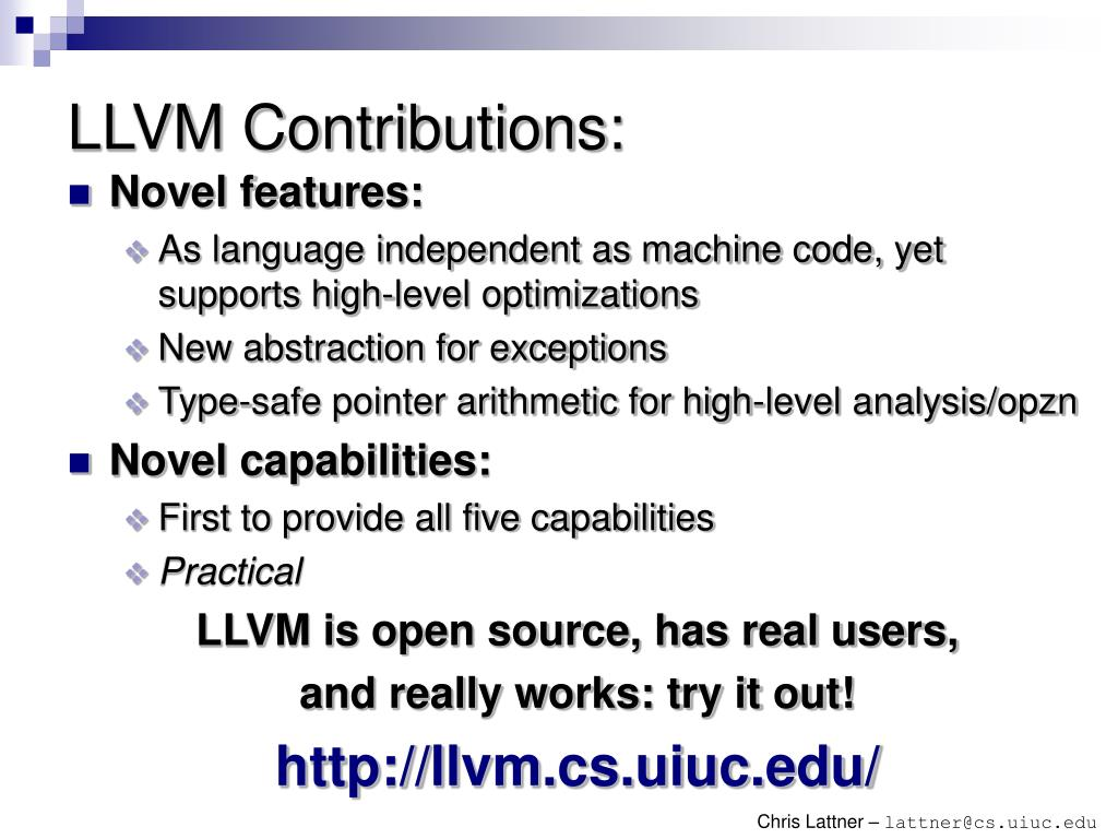 LLVM Contributions: