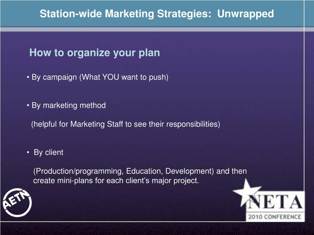 Station-wide Marketing Strategies:  Unwrapped