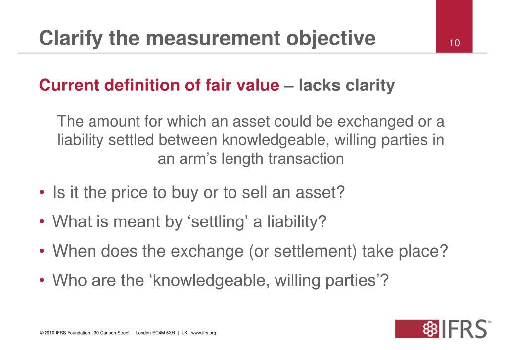 Clarify the measurement objective