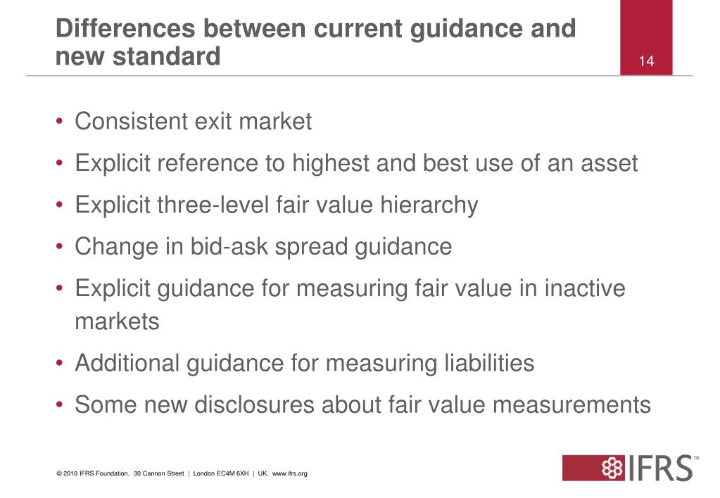 Differences between current guidance and new standard