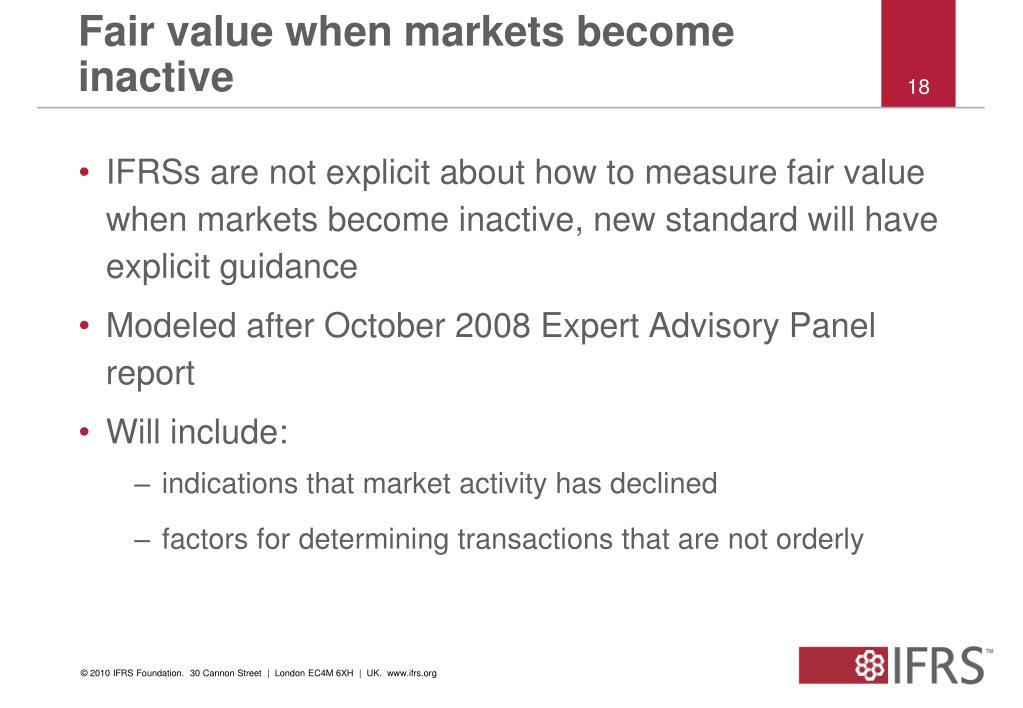 Fair value when markets become inactive