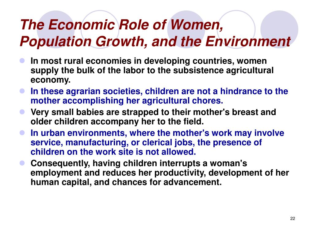 The Economic Role of Women, Population Growth, and the Environment