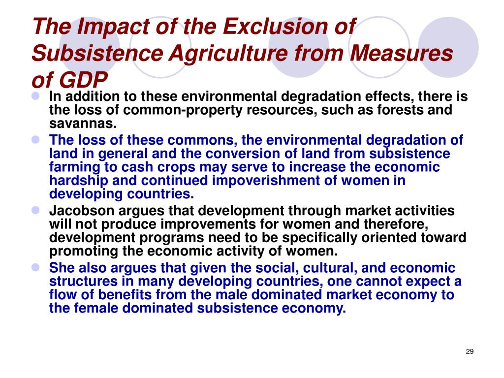 The Impact of the Exclusion of Subsistence Agriculture from Measures of GDP